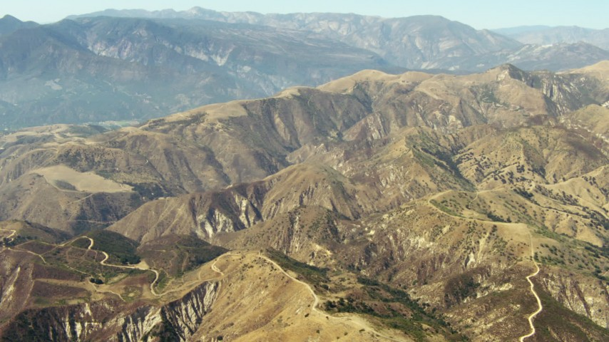 1080 stock footage aerial video of mountains in the Los Padres National Forest, California Aerial Stock Footage | TS01_015