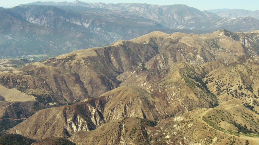 1080 stock footage aerial video of rugged mountains in the Los Padres National Forest, California Aerial Stock Footage | TS01_016