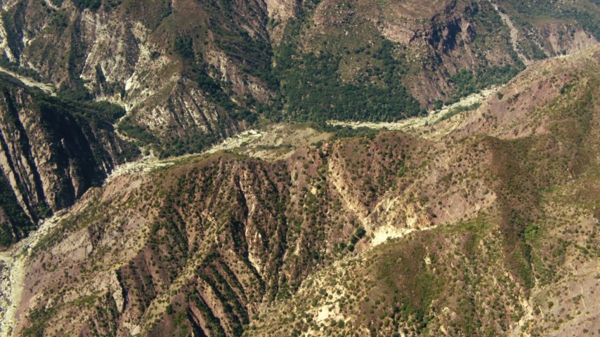 1080 stock footage aerial video of a bird's eye of mountains in Los Padres National Forest, California Aerial Stock Footage | TS01_020