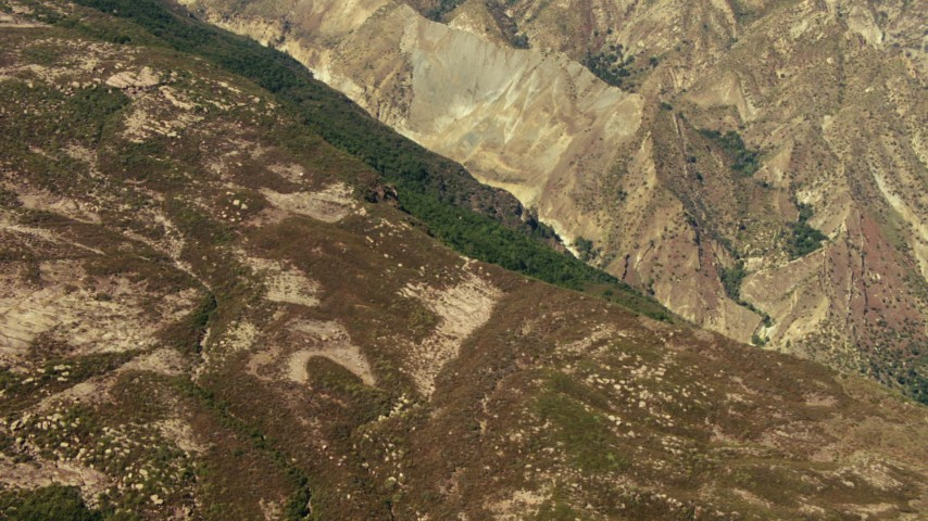 1080 stock footage aerial video of a mountain slope in Los Padres National Forest, California Aerial Stock Footage | TS01_021