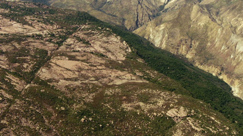 1080 stock footage aerial video of rocky slopes in the mountains, Los Padres National Forest, California Aerial Stock Footage | TS01_022