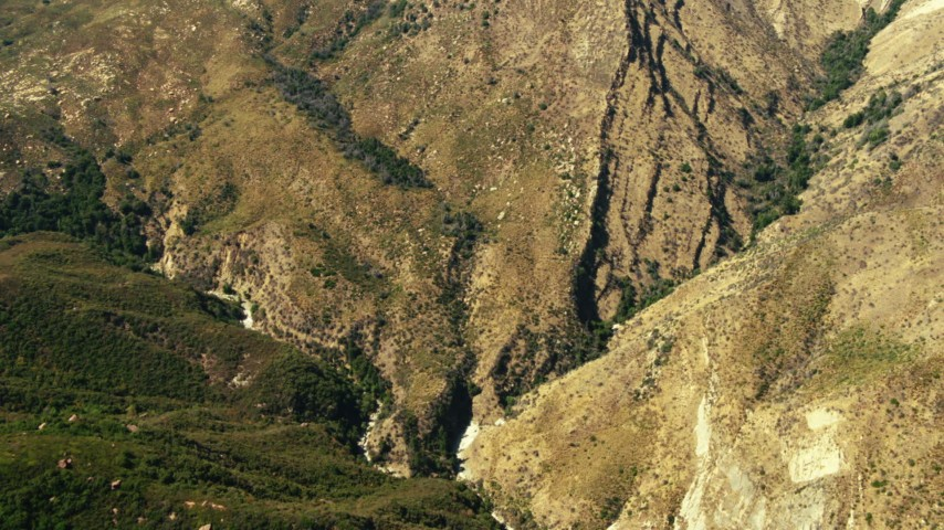 1080 stock footage aerial video of a bird's eye view of mountains, Los Padres National Forest, California Aerial Stock Footage   TS01_024
