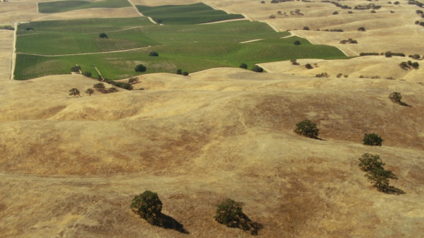 1080 stock footage aerial video of flying over hills to farm fields in Paso Robles, California Aerial Stock Footage | TS01_073