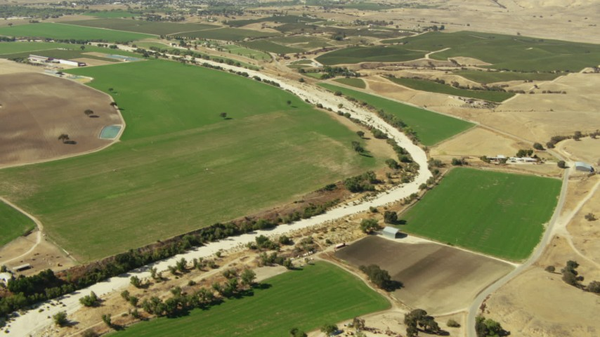 1080 stock footage aerial video of fields around a dry riverbed, Paso Robles, California Aerial Stock Footage | TS01_087