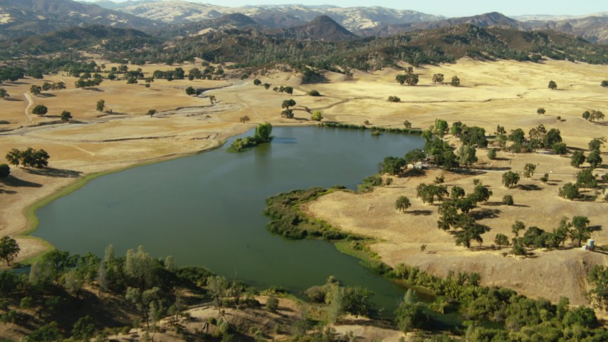 1080 stock footage aerial video fly over lake and waterfront homes near mountains in San Jose, California Aerial Stock Footage | TS01_128