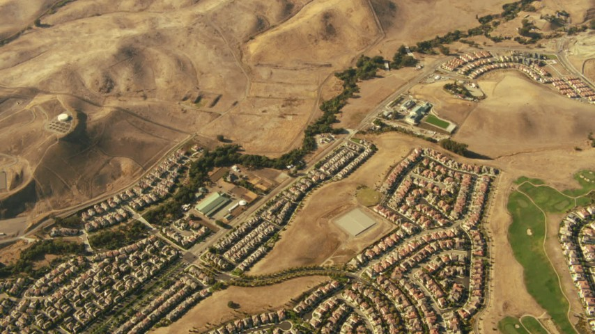 1080 stock footage aerial video tilt from homes and hills in Dublin to reveal homes in San Ramon, California Aerial Stock Footage TS01_136 | Axiom Images