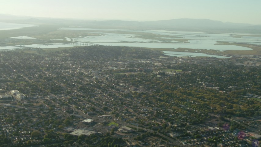1080 stock footage aerial video of flying over neighborhoods in Vallejo, California Aerial Stock Footage | TS01_156
