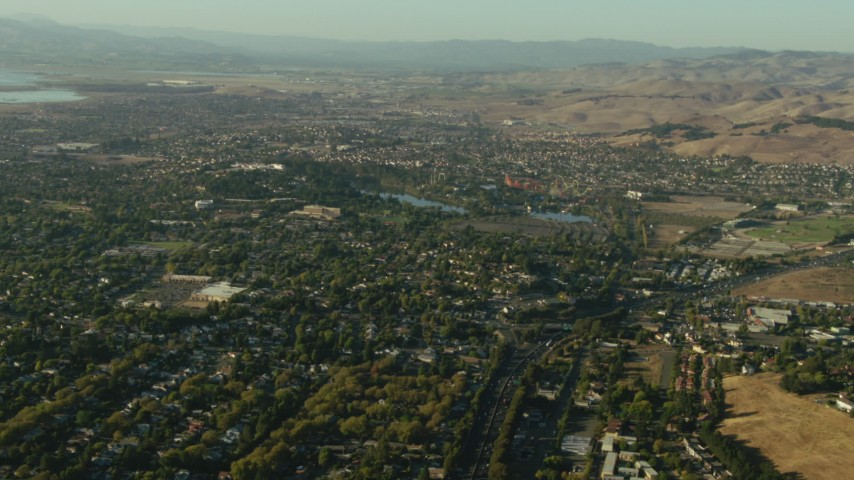1080 stock footage aerial video of homes around Six Flags park in Vallejo, California Aerial Stock Footage | TS01_157