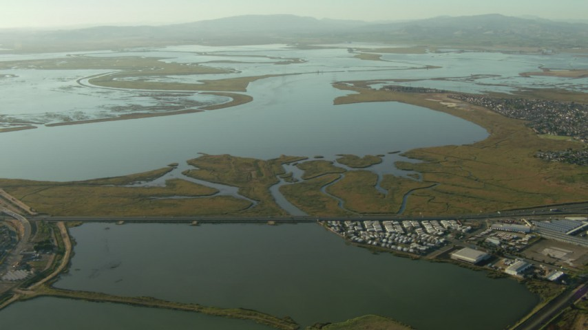 1080 stock footage aerial video of approaching Napa Sonoma Marsh in Vallejo, California Aerial Stock Footage | TS01_159