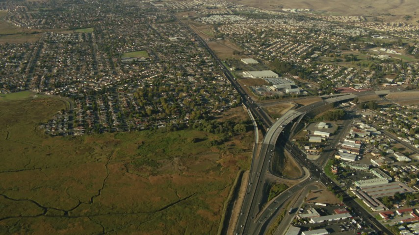 1080 stock footage aerial video of freeway interchange and neighborhoods in Vallejo, California Aerial Stock Footage | TS01_160