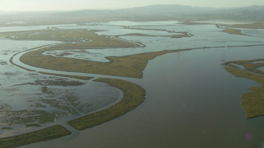 1080 stock footage aerial video of the Napa Sonoma Marsh, Vallejo, California Aerial Stock Footage | TS01_161