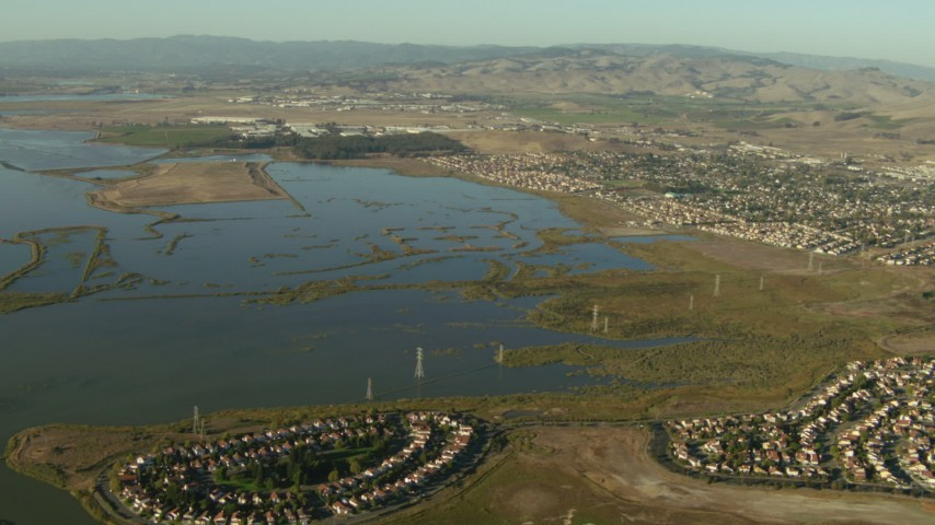 1080 stock footage aerial video of waterfront homes by the Napa Sonoma Marsh in Vallejo, California Aerial Stock Footage TS01_162 | Axiom Images