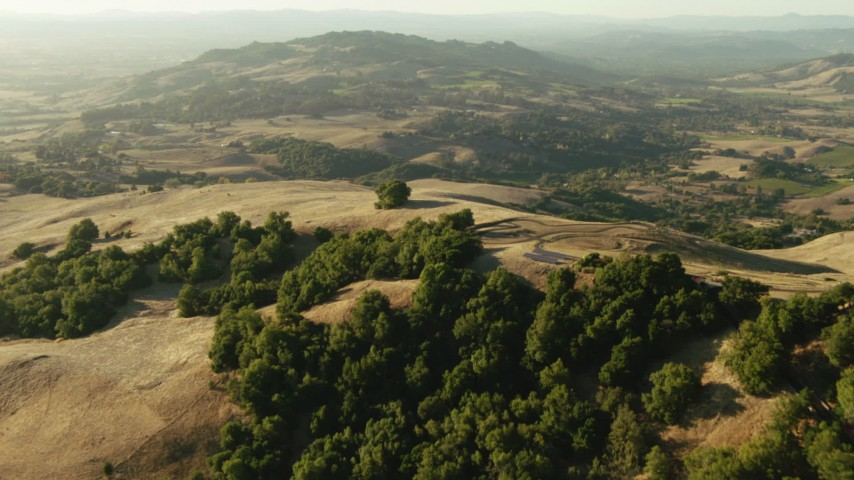 1080 stock footage aerial video of flying over homes and hills to approach hills in Sonoma County, California Aerial Stock Footage | TS01_189