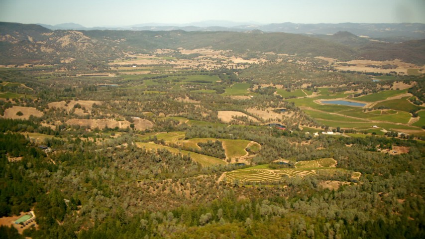 1080 stock footage aerial video of small hills and vineyards in Pope Valley, California Aerial Stock Footage | TS01_245