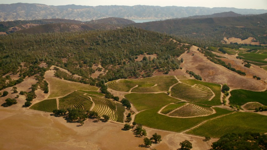 1080 stock footage aerial video of flying over vineyards to approach hills in Pope Valley, California Aerial Stock Footage | TS01_250