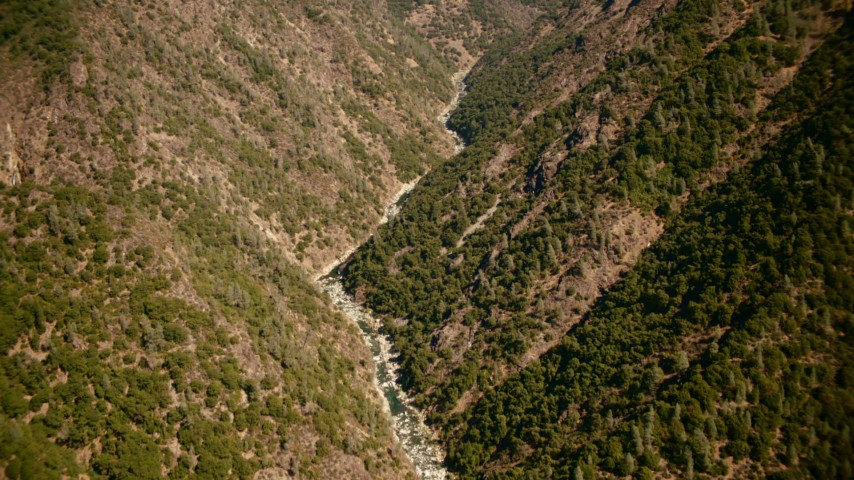 1080 stock footage aerial video of a river between mountains in the Sierra Nevada Mountains, California Aerial Stock Footage | TS01_284