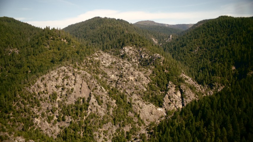 1080 stock footage aerial video of mountains and forest in the Sierra Nevada Mountains, California Aerial Stock Footage | TS01_289