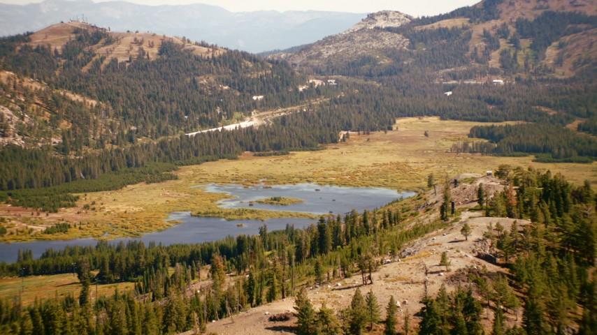 1080 stock footage aerial video of lakes and the Sierra Nevada Mountains, California Aerial Stock Footage | TS01_298