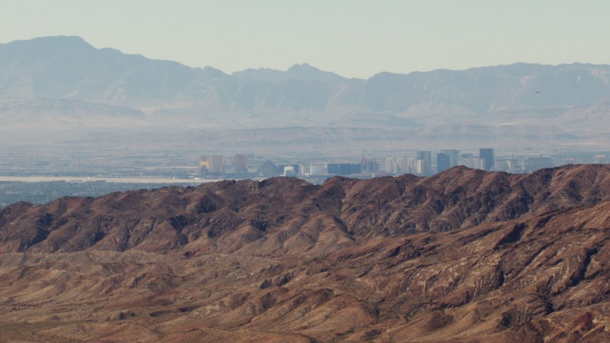 1080 aerial stock footage video of the Las Vegas Strip seen from the Frenchman Range, Nevada Aerial Stock Footage | TS02_23
