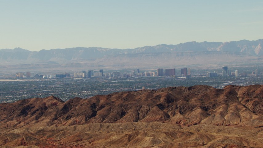 1080 aerial stock footage video of the Las Vegas Strip seen from mountains, Nevada Aerial Stock Footage | TS02_26
