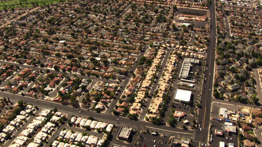 1080 aerial video of residential neighborhoods in East Las Vegas, Nevada Aerial Stock Footage | TS02_33