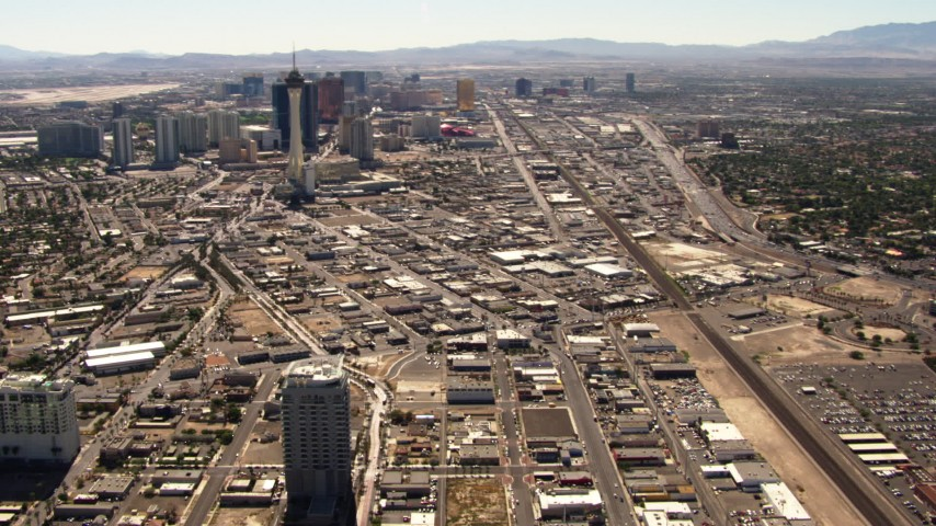 1080 stock footage aerial video pan from north end of the Las Vegas Strip to reveal Stratosphere and downtown, Nevada Aerial Stock Footage | TS02_38