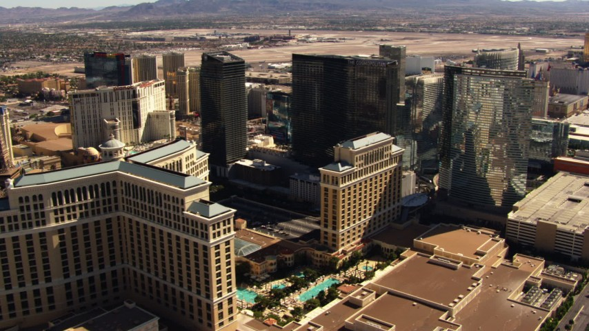 1080 aerial video of passing the famous hotels of the Las Vegas Strip, Nevada Aerial Stock Footage | TS02_42