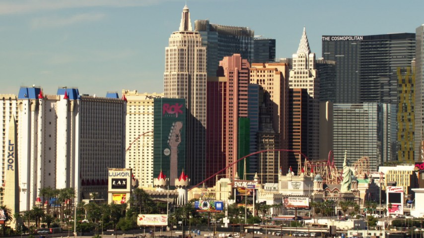 1080 stock footage aerial video of New York New York Hotel and Casino in Las Vegas, Nevada Aerial Stock Footage TS02_46   Axiom Images