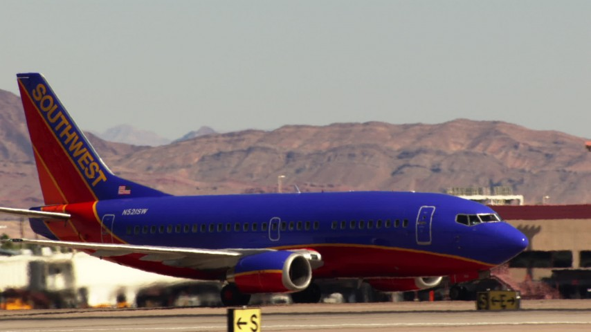 1080 stock footage aerial video of Southwest jet at McCarran International Airport, Nevada Aerial Stock Footage | TS02_49