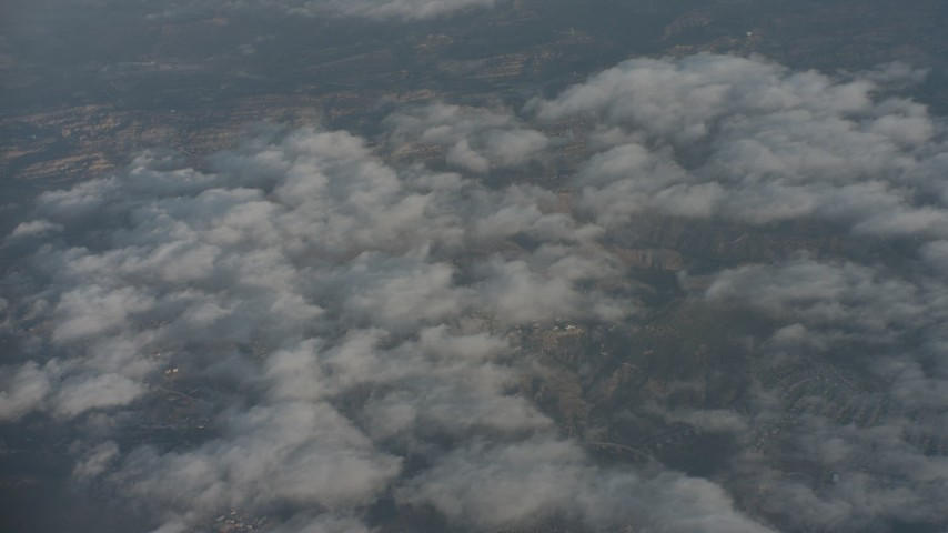 4K stock footage aerial video of a bird's eye view of light cloud cover over Ventura County, California Aerial Stock Footage | WA001_015