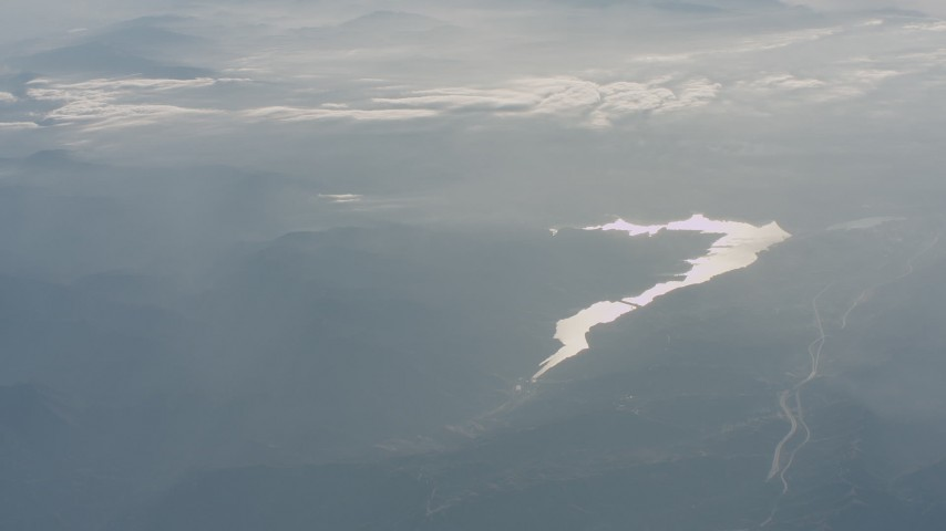 Castaic Lake and the Sierra Pelona Mountains in California Aerial Stock Footage WA001_024 | Axiom Images