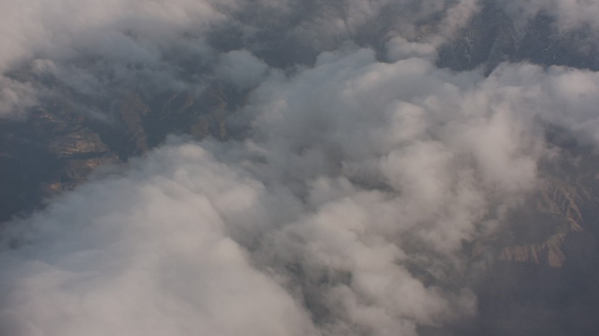 4K stock footage aerial video fly over dense clouds and tilt to mountains in Los Padres National Forest, California Aerial Stock Footage | WA002_012