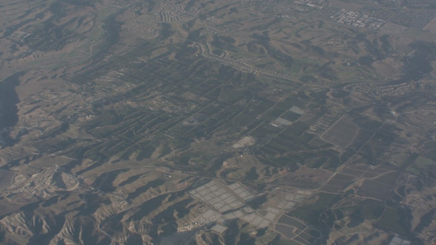 Approach farm fields in Moorpark, California Aerial Stock Footage WA003_003 | Axiom Images
