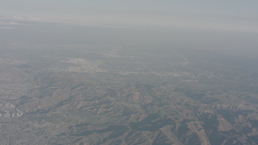 The San Fernando Valley seen from Simi Hills, California Aerial Stock Footage WA003_006 | Axiom Images