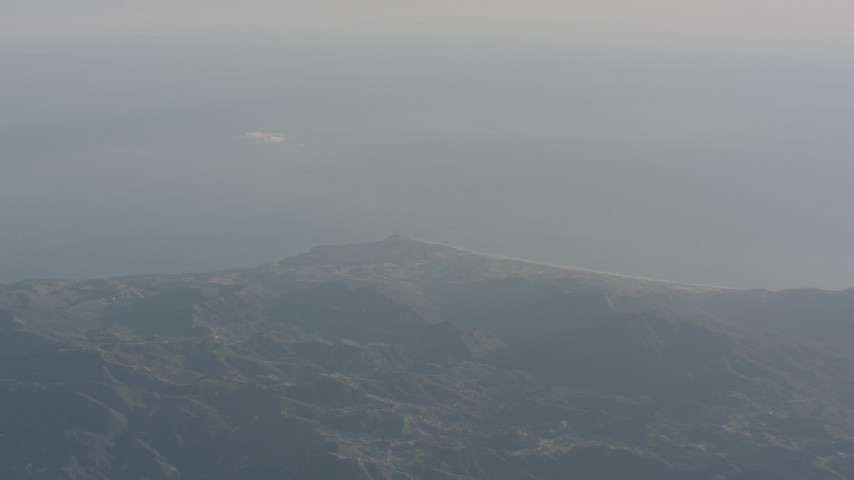 4K stock footage aerial video of a view of the Pacific Ocean and Malibu from the Santa Monica Mountains, California Aerial Stock Footage | WA003_009