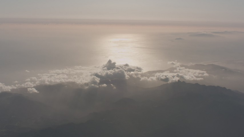 4K stock footage aerial video of a view of the Pacific Ocean and coastline from the Santa Monica Mountains, California Aerial Stock Footage | WA003_010