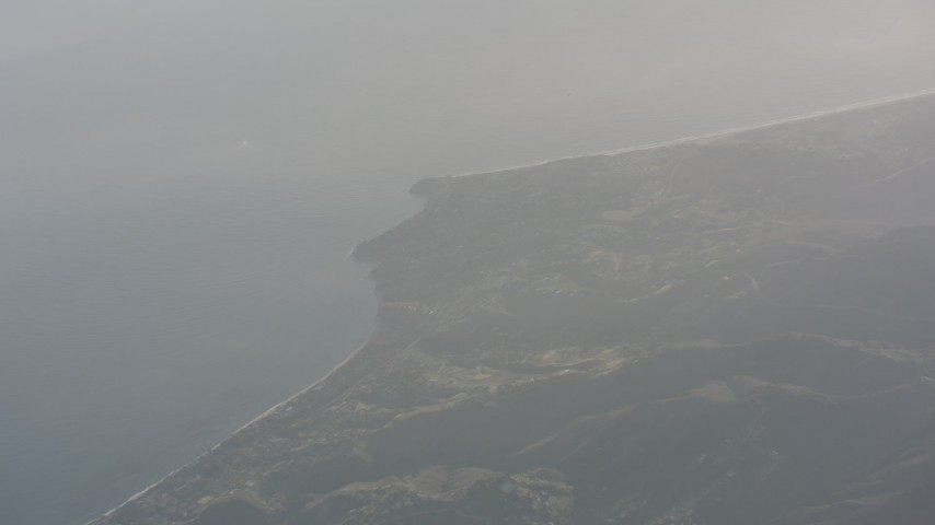 A view of Malibu on the coast and the Pacific Ocean, California Aerial Stock Footage | WA003_012