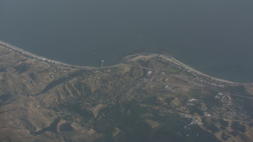 Pan across Malibu to reveal Santa Monica, California Aerial Stock Footage | WA003_013
