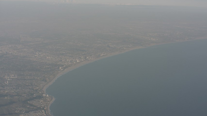 4K stock footage aerial video of approaching Santa Monica and the beach on the coast of California Aerial Stock Footage | WA003_014