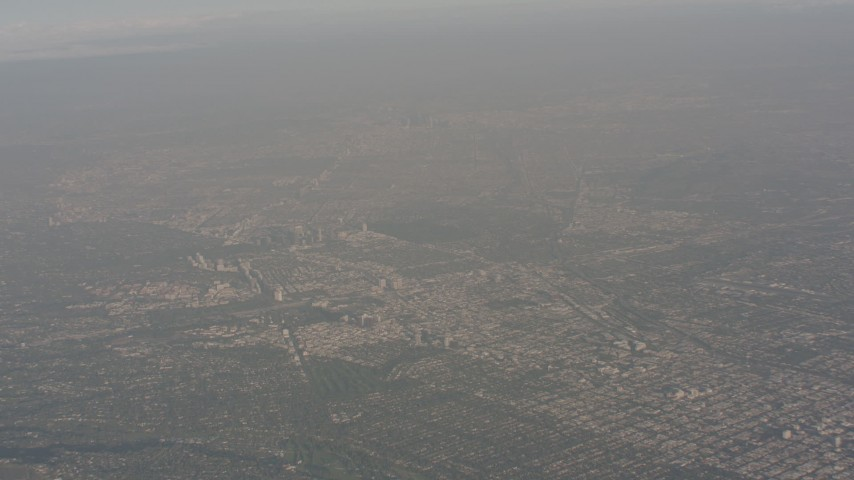 A high altitude view of Downtown Los Angeles, California Aerial Stock Footage | WA003_015