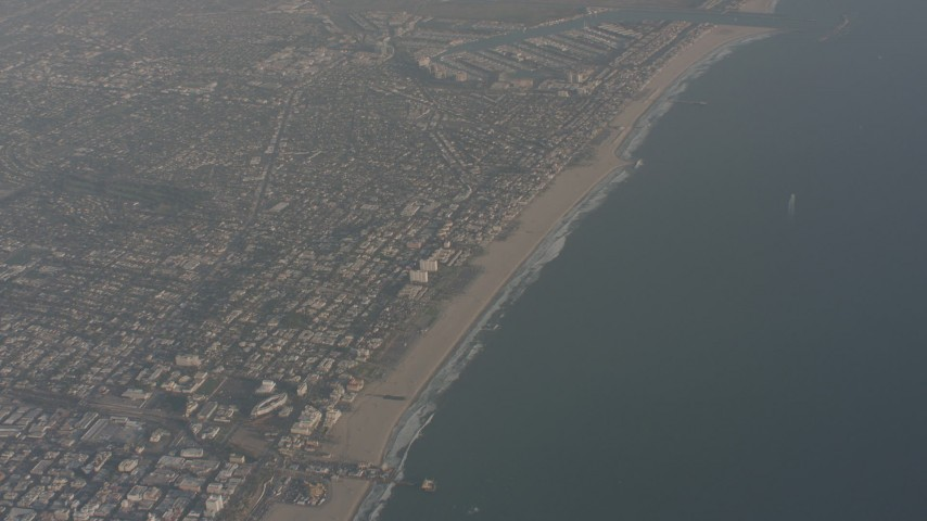 4K stock footage aerial video of a bird's eye view of Santa Monica Pier and Venice, California Aerial Stock Footage | WA003_016