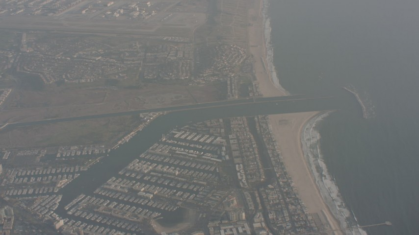 Tilt from Venice Beach to reveal Marina del Rey, California Aerial Stock Footage | WA003_017