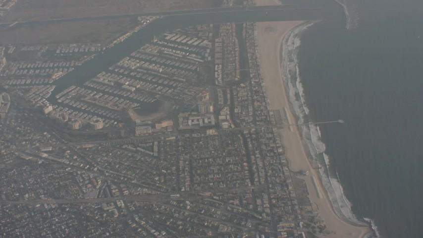 Tilt from Venice Beach to reveal Marina del Rey, California Aerial Stock Footage | WA003_017