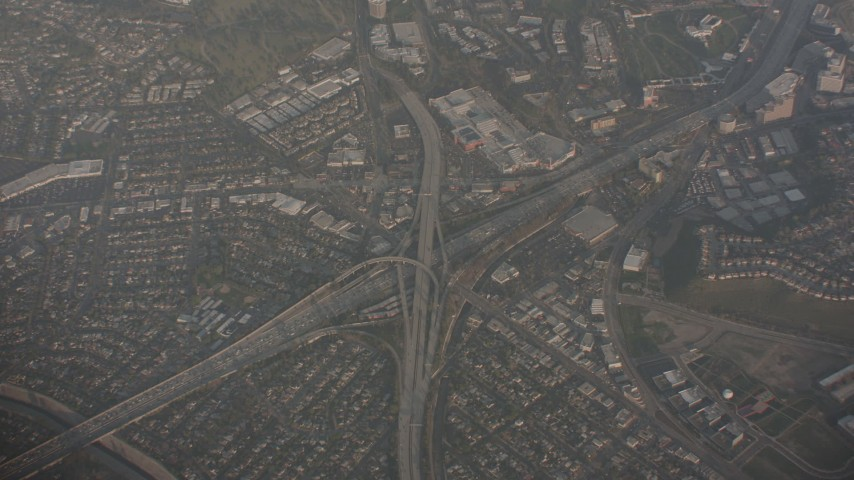 4K stock footage aerial video of a bird's eye view of the I-405 and Highway 90 interchange in Culver City, California Aerial Stock Footage | WA003_018