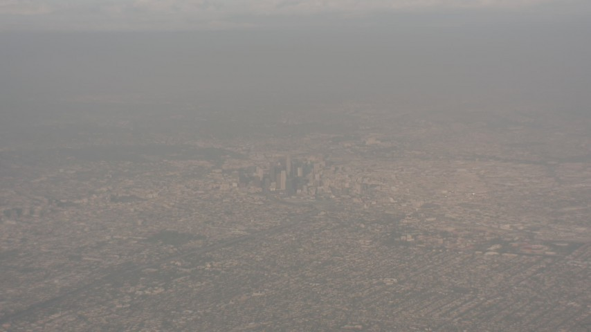 High altitude view of Downtown Los Angeles, California Aerial Stock Footage WA003_019 | Axiom Images