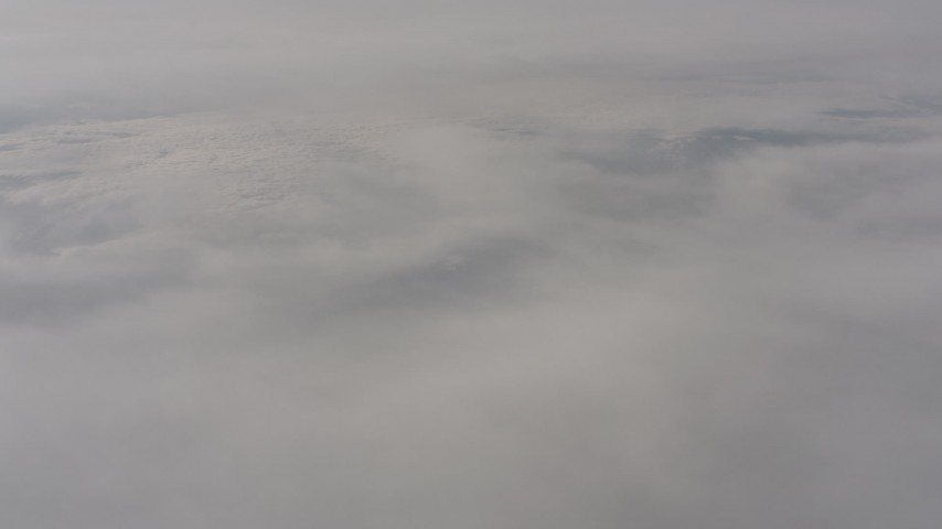 Heavy cloud cover over Lassen County, California Aerial Stock Footage | WA004_004