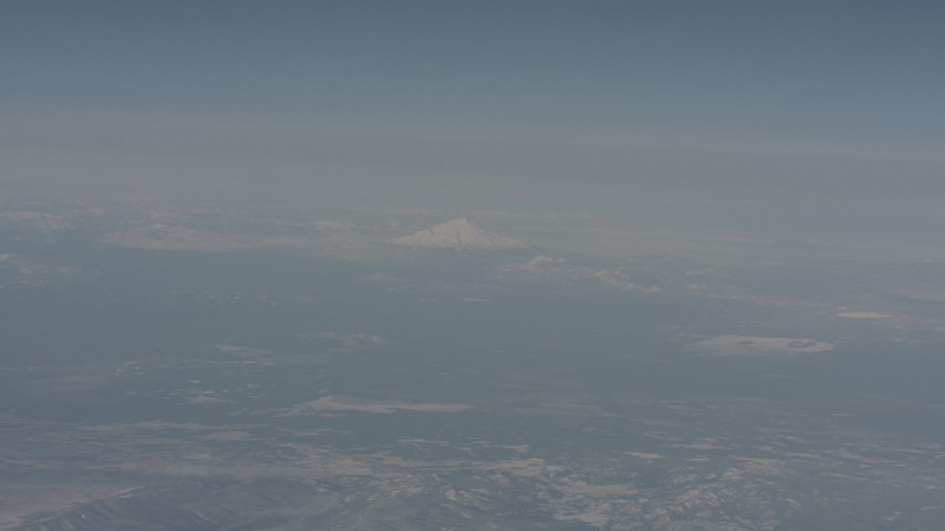 Mount Shasta in the distance, seen from across Modoc County, California Aerial Stock Footage | WA004_010