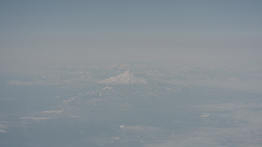 A view of Mount Shasta from across Modoc County, California Aerial Stock Footage | WA004_014