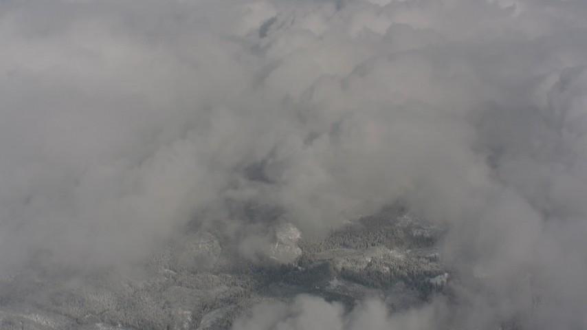 Bird's eye view of clouds over Skamania County, Washington Aerial Stock Footage | WA004_077