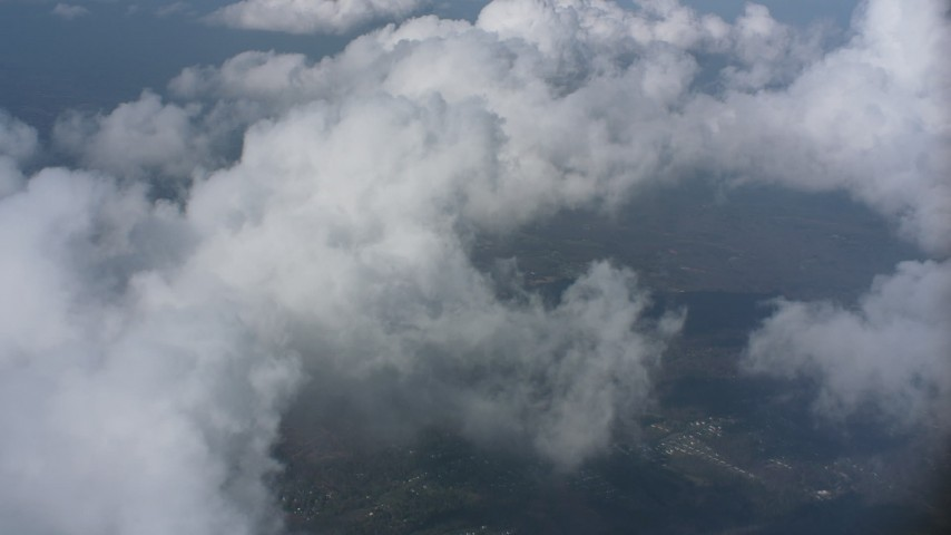Flyby and pan across clouds over Virginia Aerial Stock Footage | WA006_007